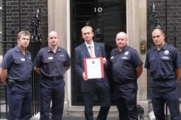 Tim Farron MP and fire-fighters at 10 Downing Street