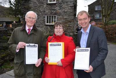 Tim Farron campaigning with Sir Menzies Campbell for Loraine Birchall