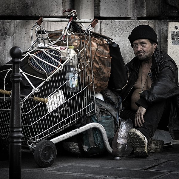 Homeless man in Paris