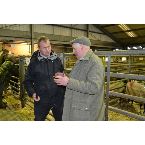 Tim Farron at the Penrith Auction Mart