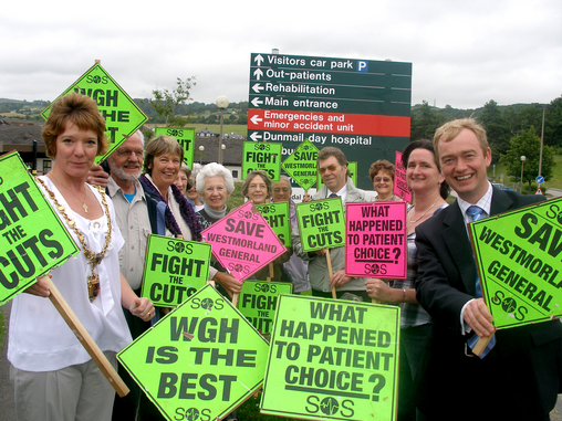 Group of campaigners outside Westmorland General Hospital