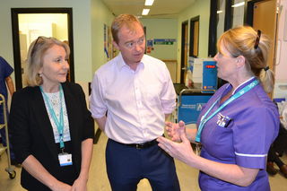 Tim with NHS staff at Westmorland General Hospital