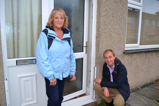 Tim and Lynne Oldham at a house which was flooded during Storm Desmond