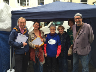 Tim collecting petition signatures with members of South Lakes MIND