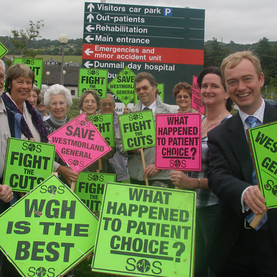 Tim Farron MP with hospital campaigners