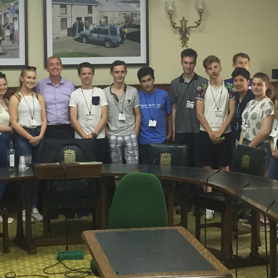 Tim Farron MP with students from Settlebeck School at Parliament