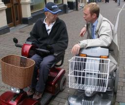 Tim Farron MP on a fact-finding mission with a wheelchair user