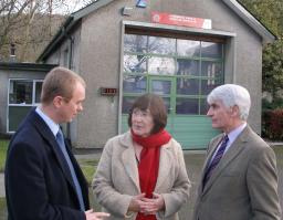 Tim Farron with councillors Joan Stocker and Graham Vincent at Staveley Fire Station