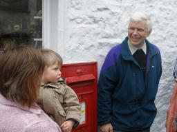 Local councillor Peter Woof and residents at Dent Post Office