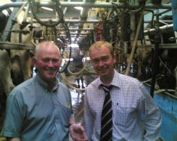 Tim at a dairy farm in Burton-in-Kendal