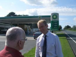 Tim at a rural petrol station