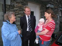 Tim Farron MP and Cllr Vivienne Rees visiting an affordable home in Grasmere