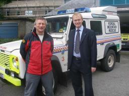 Tim Farron with Andy Dell of Kendal Mountain Rescue