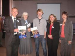 Tim Farron with supporters of Age Concern at their 'Big Q' event in October 2009