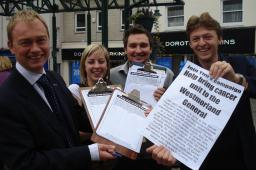 Tim with his team collecting petition signatures in support of a new cancer treatment unit in Kendal