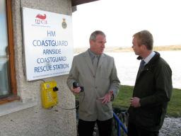 Tim with retired coastguard George Crossman at Arnside Coastguard station