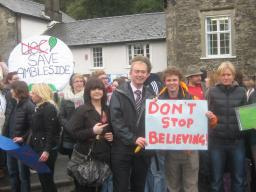 Tim on the Ambleside protest