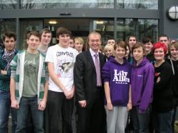 Tim with Kendal college students