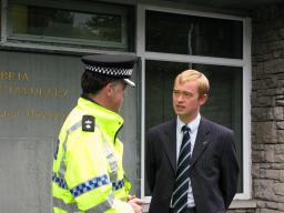 Tim with police