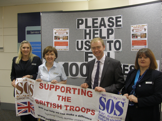 MP LAUNCHES 'SUPPORT OUR SOLDIERS' CHRISTMAS PARCEL APPEAL IN KENDAL From left to right Nicola Hill, Helen Hoggarth, Tim Farron and Debra Pearce