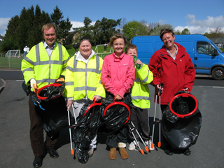 Tim and local residents collecting litter on Kirkbarrow.