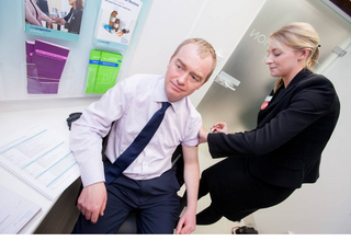 South Lakes MP Tim Farron this week visited the Helme Chase Pharmacy in Kendal to receive his flu jab