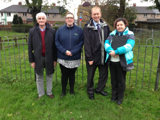 Attached is a photo of Tim meeting with Councillor Graham Vincent (far left) and local residents at the play area. The meeting was organised by Julie Barker of Rinkfield Residents' Association (on Tim's left holding a clipboard)