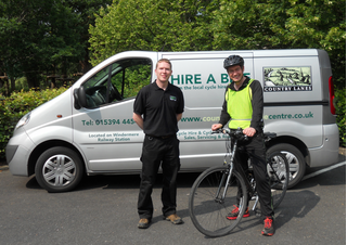 Guy Fitzgerald, Company Director, Country Lanes Cycle Centre and Tim at the start of the cycle