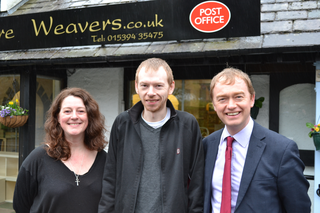 South Lakes MP Tim Farron visited the site of Grasmere's new Post Office on Monday morning.