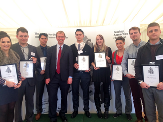 Tim is pictured with Godfrey Owen of the Brathay Trust, Karen Woodward of the National Apprenticeship Service and the eight finalists.