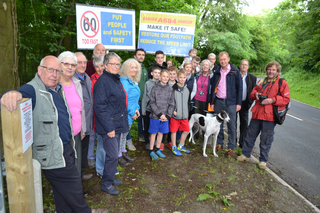 Tim with local residents and councillors on the A684