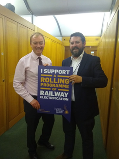 Tim with Noel Dolphin from the Campaign to Electrify Britain's Railways